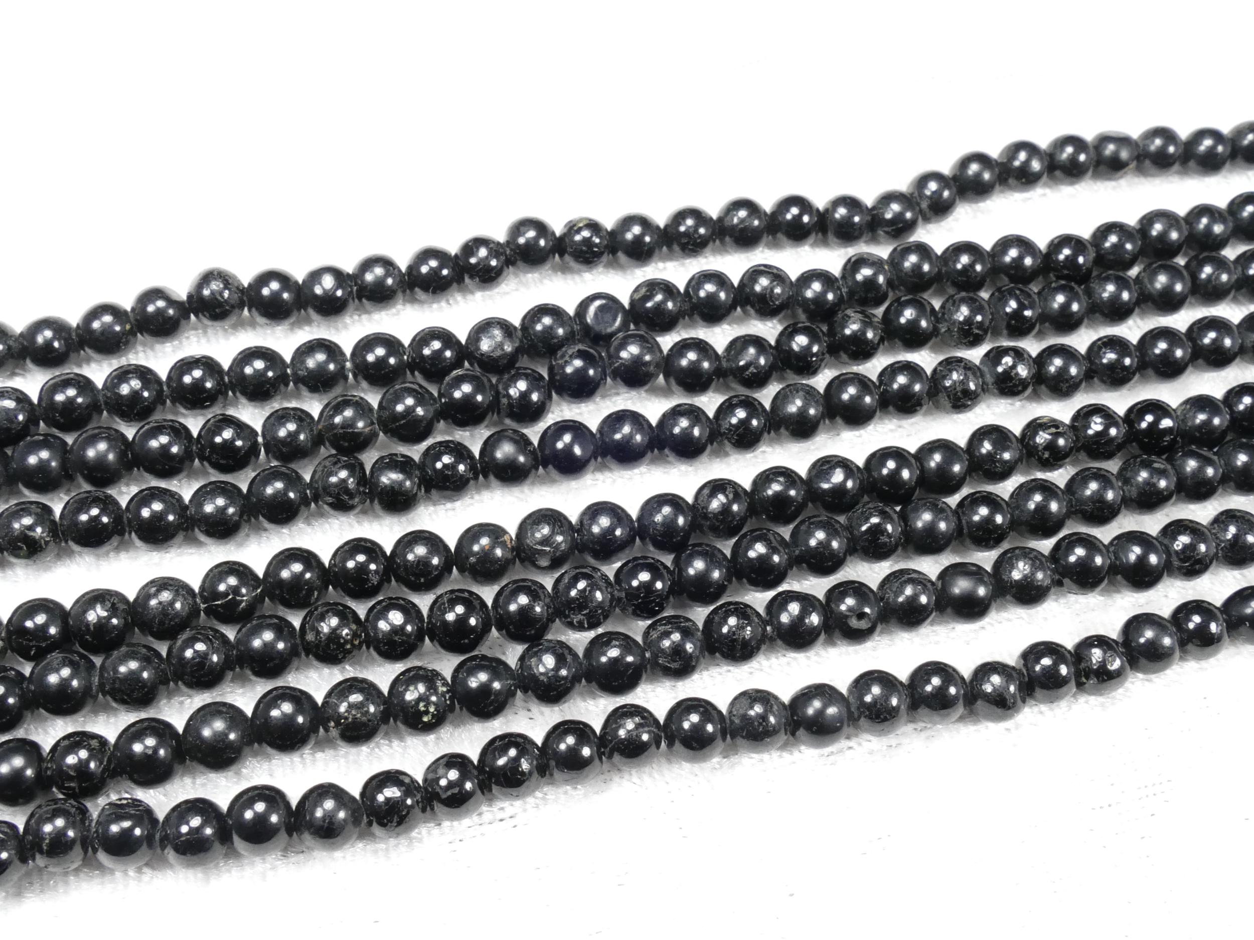 5/5.2mm Perles de Tourmaline naturelle noire en boule lisse irrégulière x35cm (13.7inch) (#AC862)