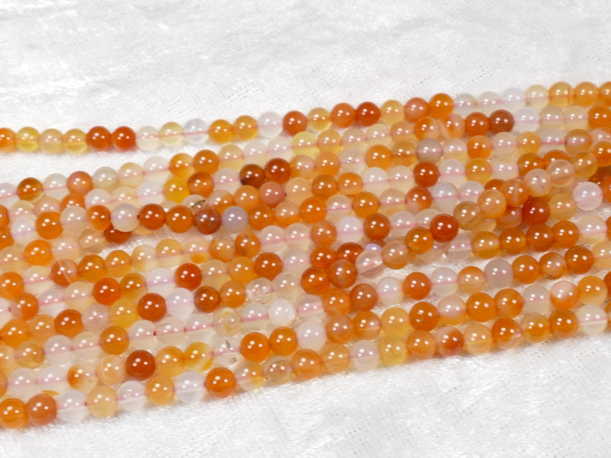 4.4mm Perle de Cornaline (Agate) naturelle boule / ronde du Brésil pour collier x39cm (15.3inch) (#AC817)