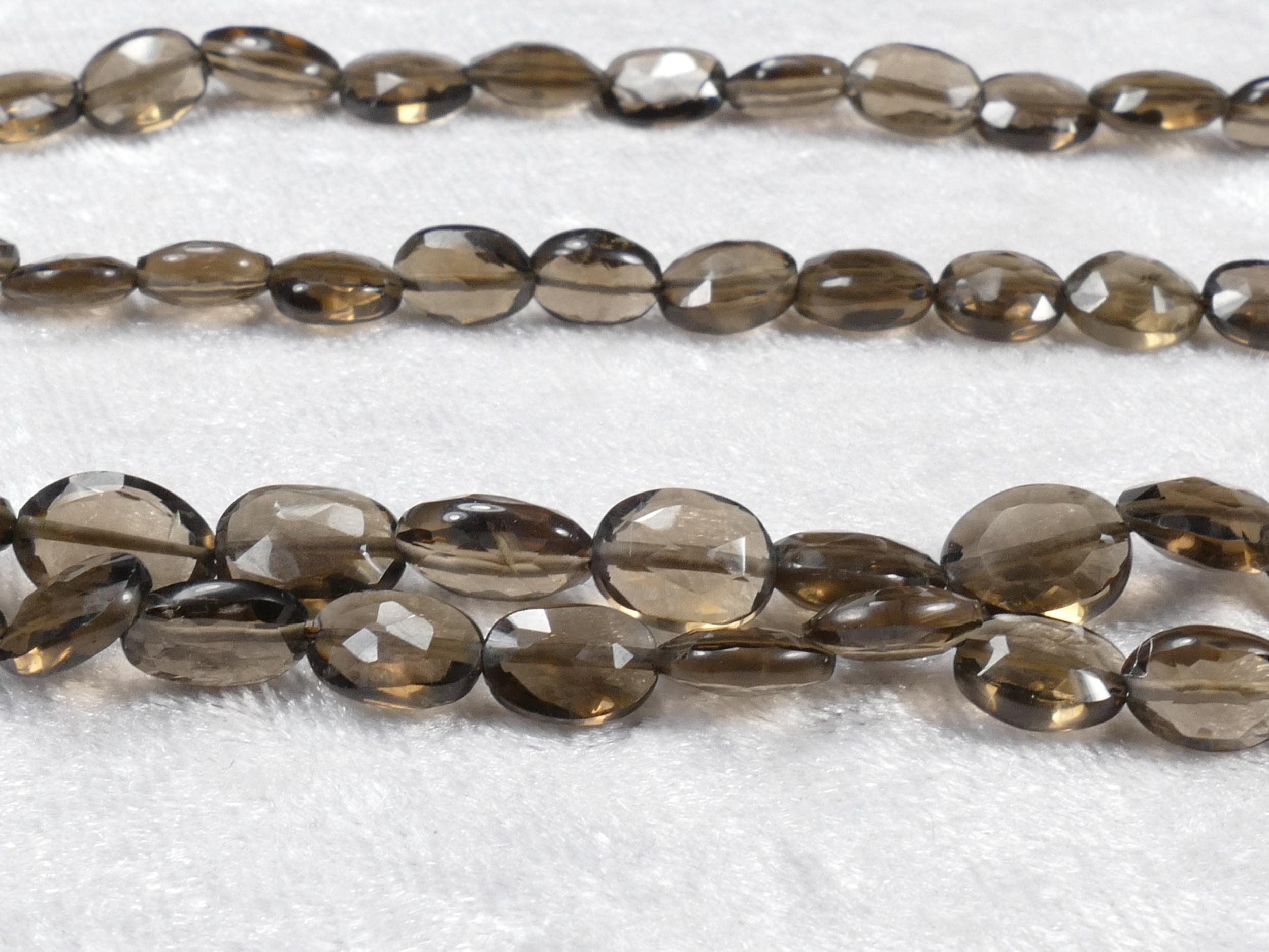 7x5/9x7mm AA/AAA+ x10 Perles de Quartz fumé naturel ovale facettée (#AC984)