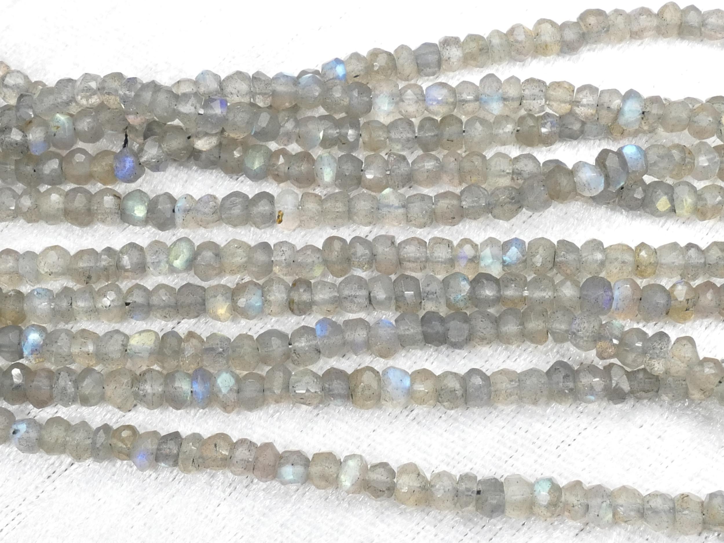 Vidéo ! 4/4.4mm Perle de Labradorite naturelle rondelle facetté x17cm (6.7inch) (#AC855)