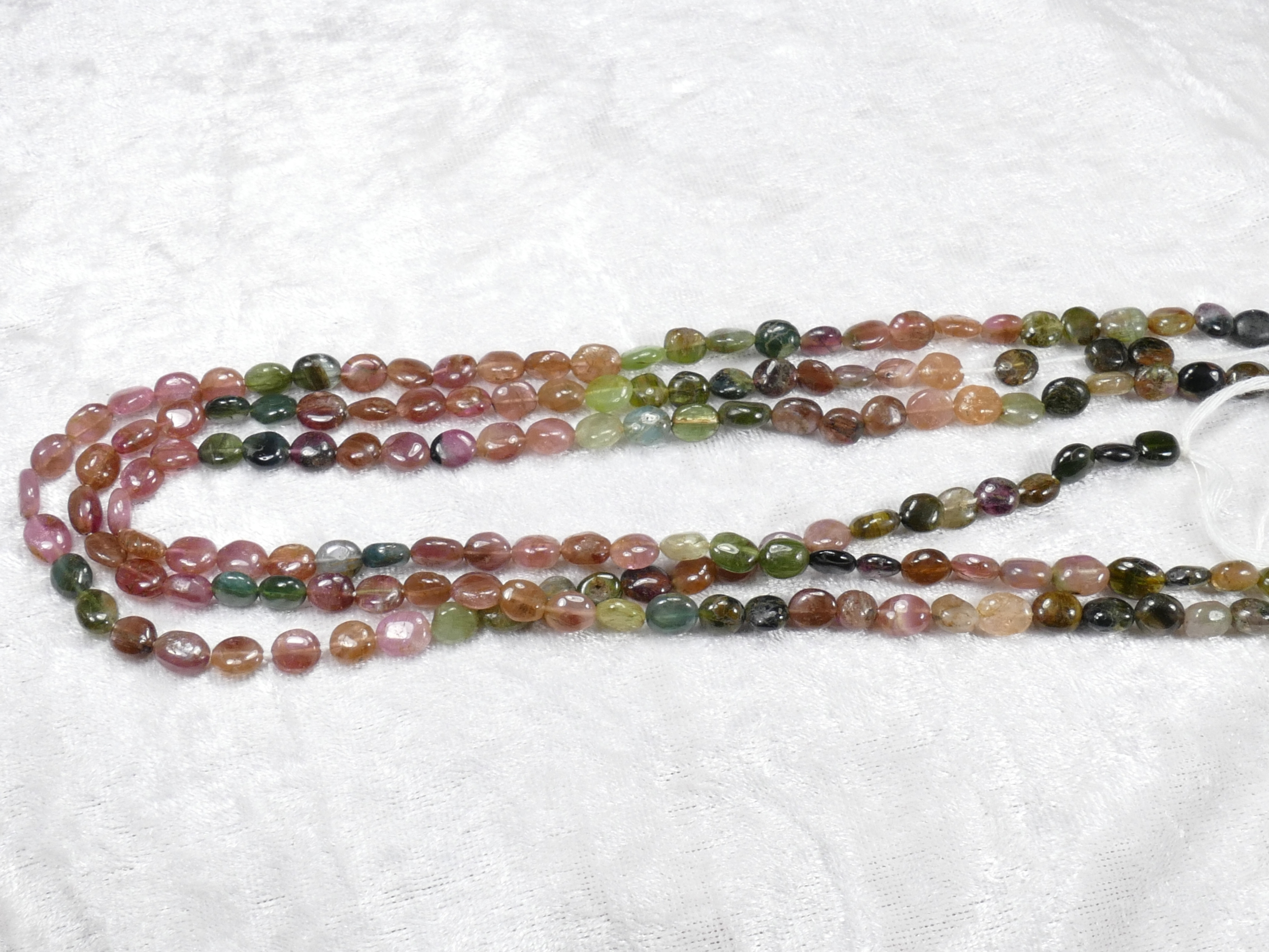 Perles de Tourmaline naturelle en ovale lisse mix rose vert x36cm (14.1inch) (#AC989)