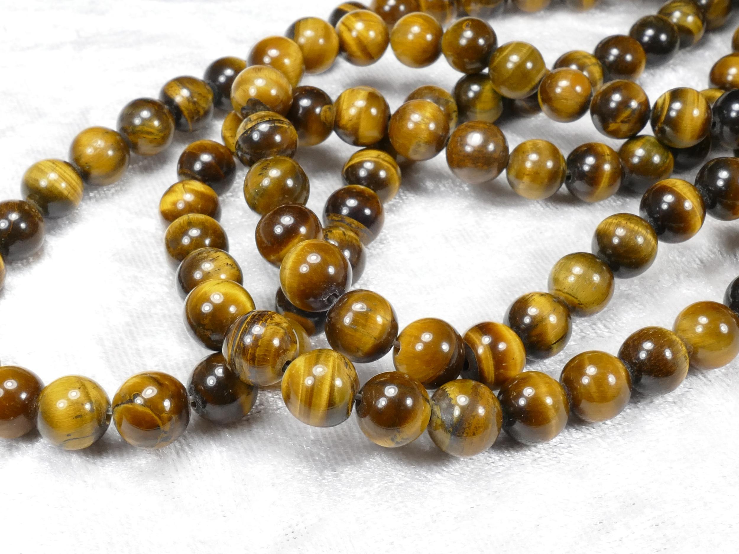 8.2/8.4mm x20 Perle d\'Oeil-de-Tigre naturel ronde lisse d\'Inde (#AC821)
