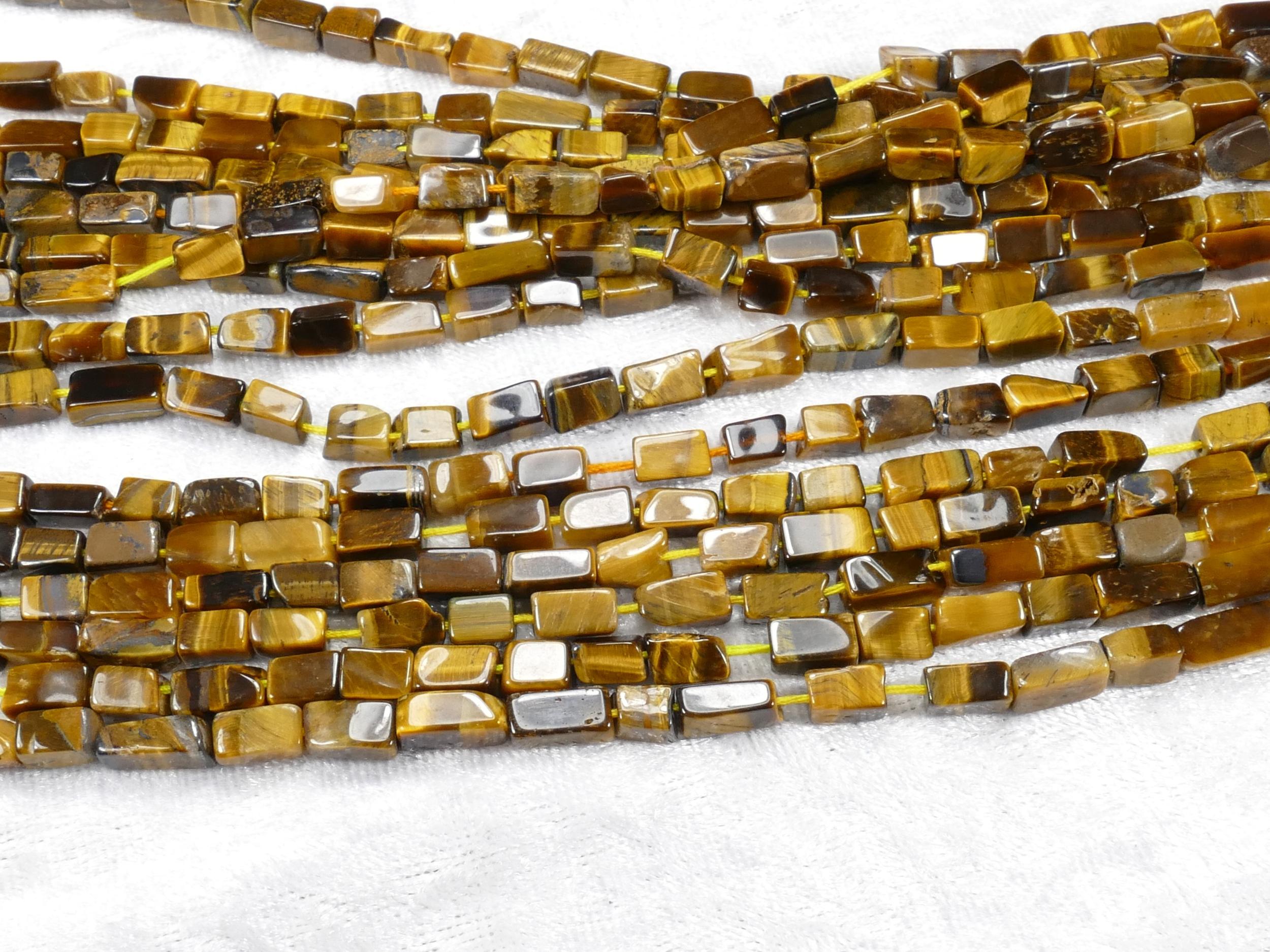 4/4.5mm Perle d\'Oeil-de-Tigre naturel pavé rectangulaire irrégulier fil x34cm (13.3inch) (#AC869)