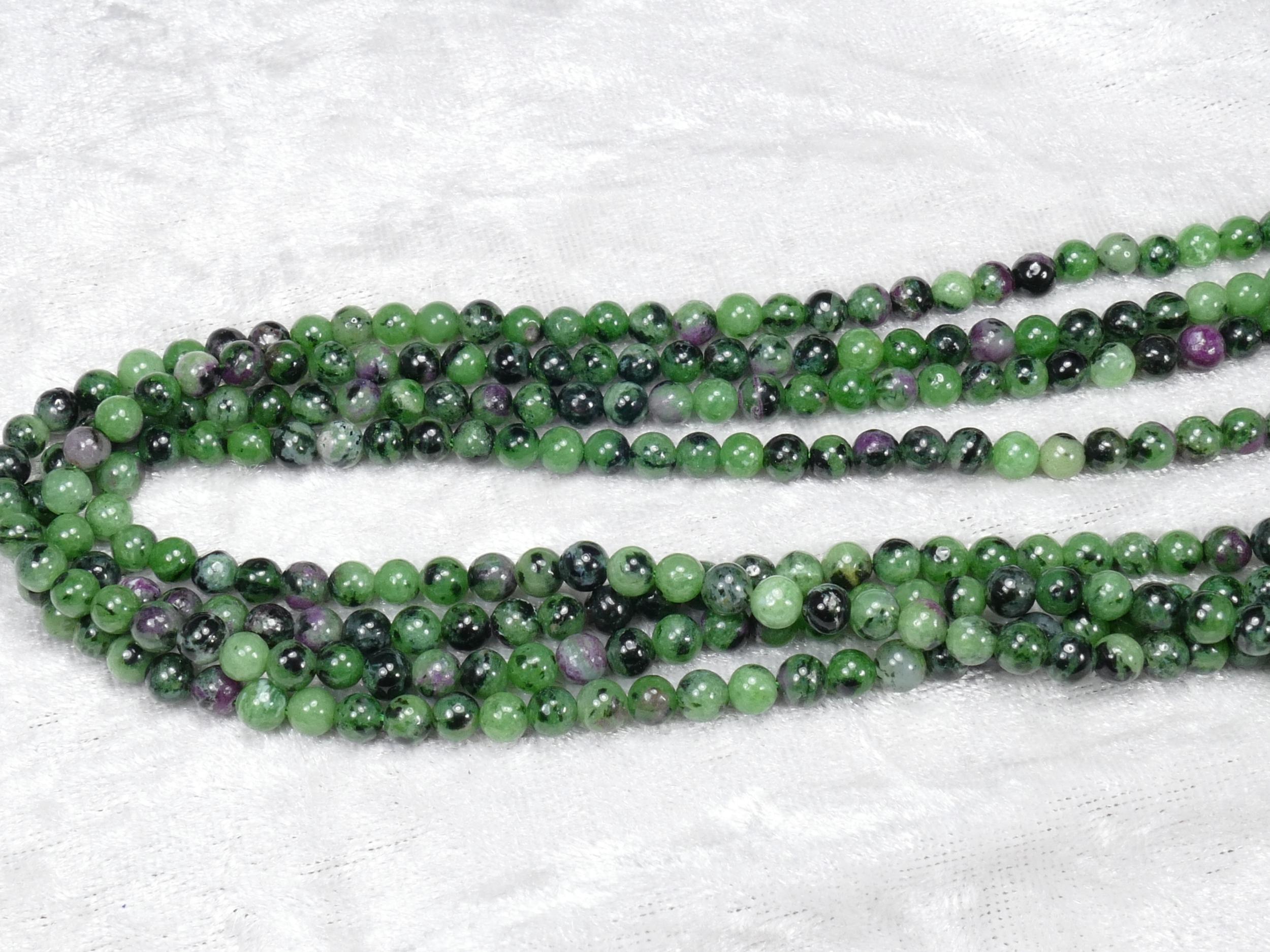 4.4/4.7mm Perles de Rubis-zoisite naturel en boule / rond lisse x39cm (15.3inch) (#AC818)