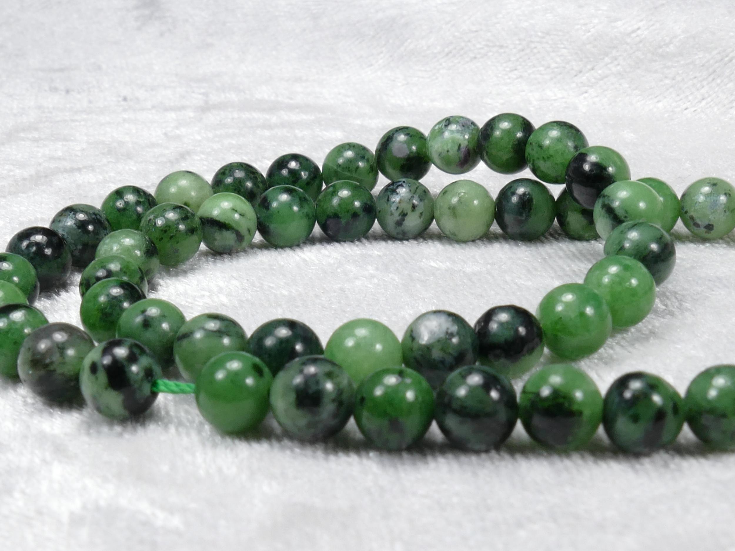 6/6.3mm x26 Perles de Zoisite naturel boule / rond lisse (#AC819)