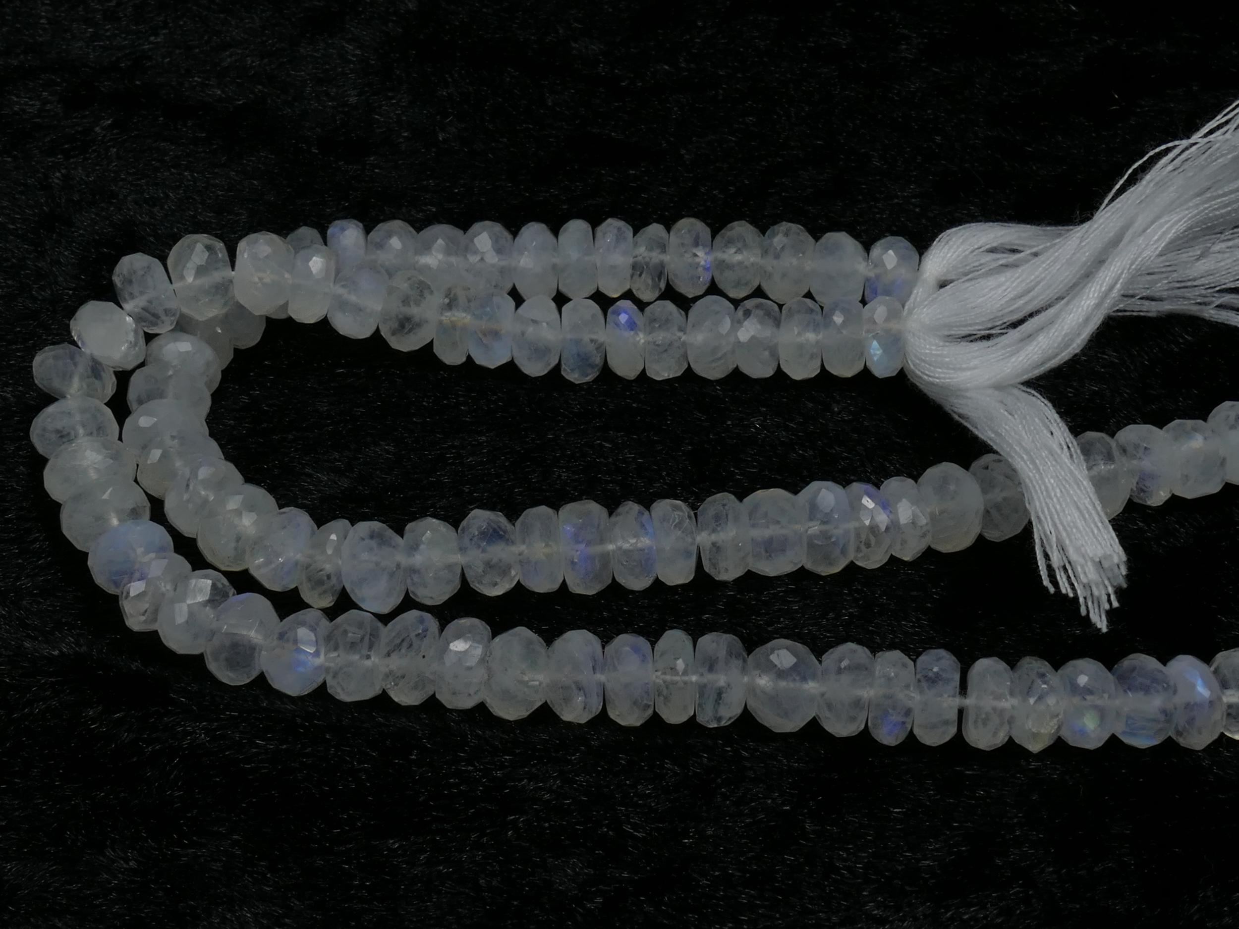 7mm Perle de Pierre de lune naturelle arc-en-ciel rondelle facettée x10cm (3.9inch) (#AC846)