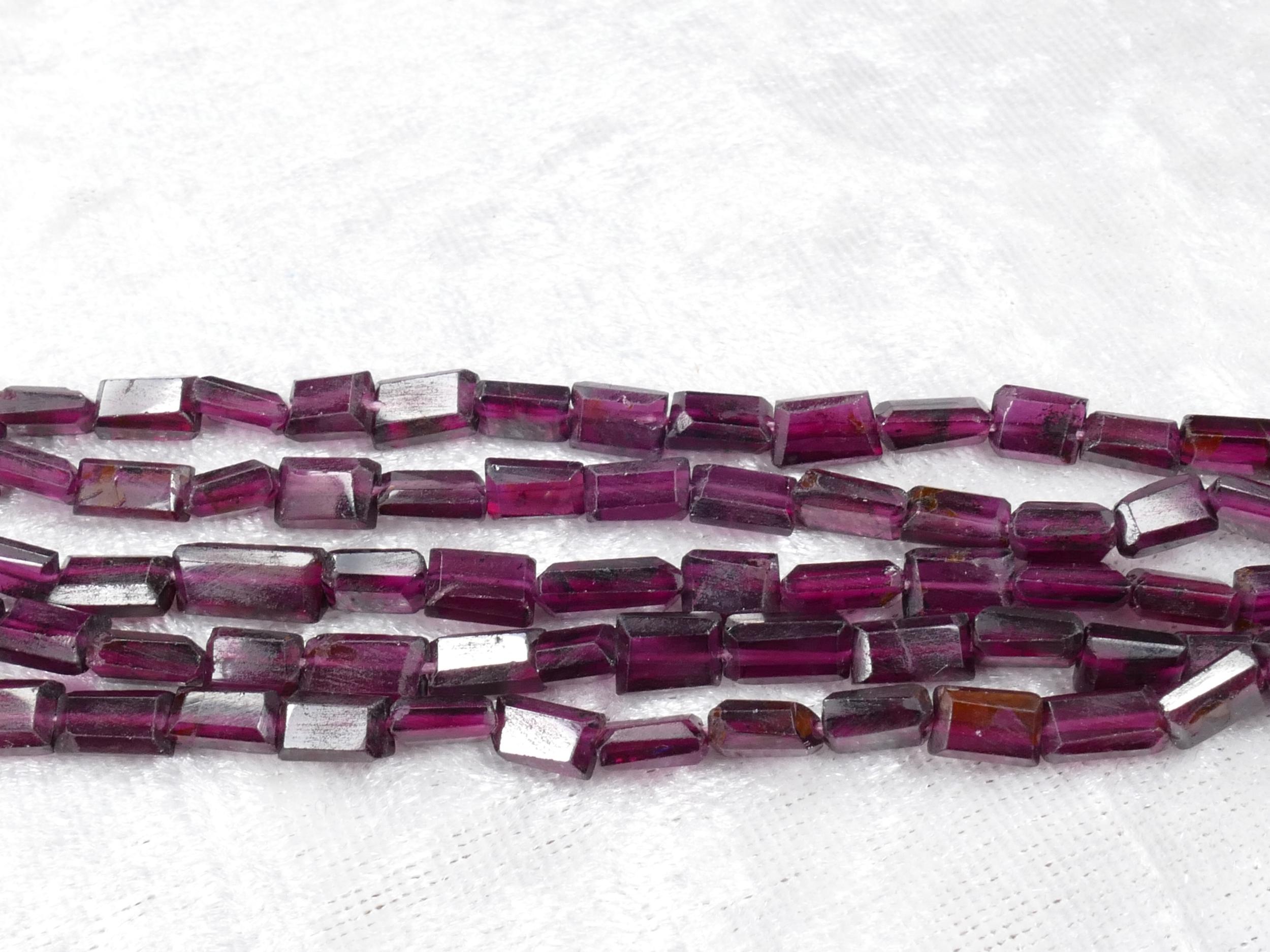 Perles de Grenat rouge violet naturel rectangle facettée droit 33cm (13inch) (#AC834)