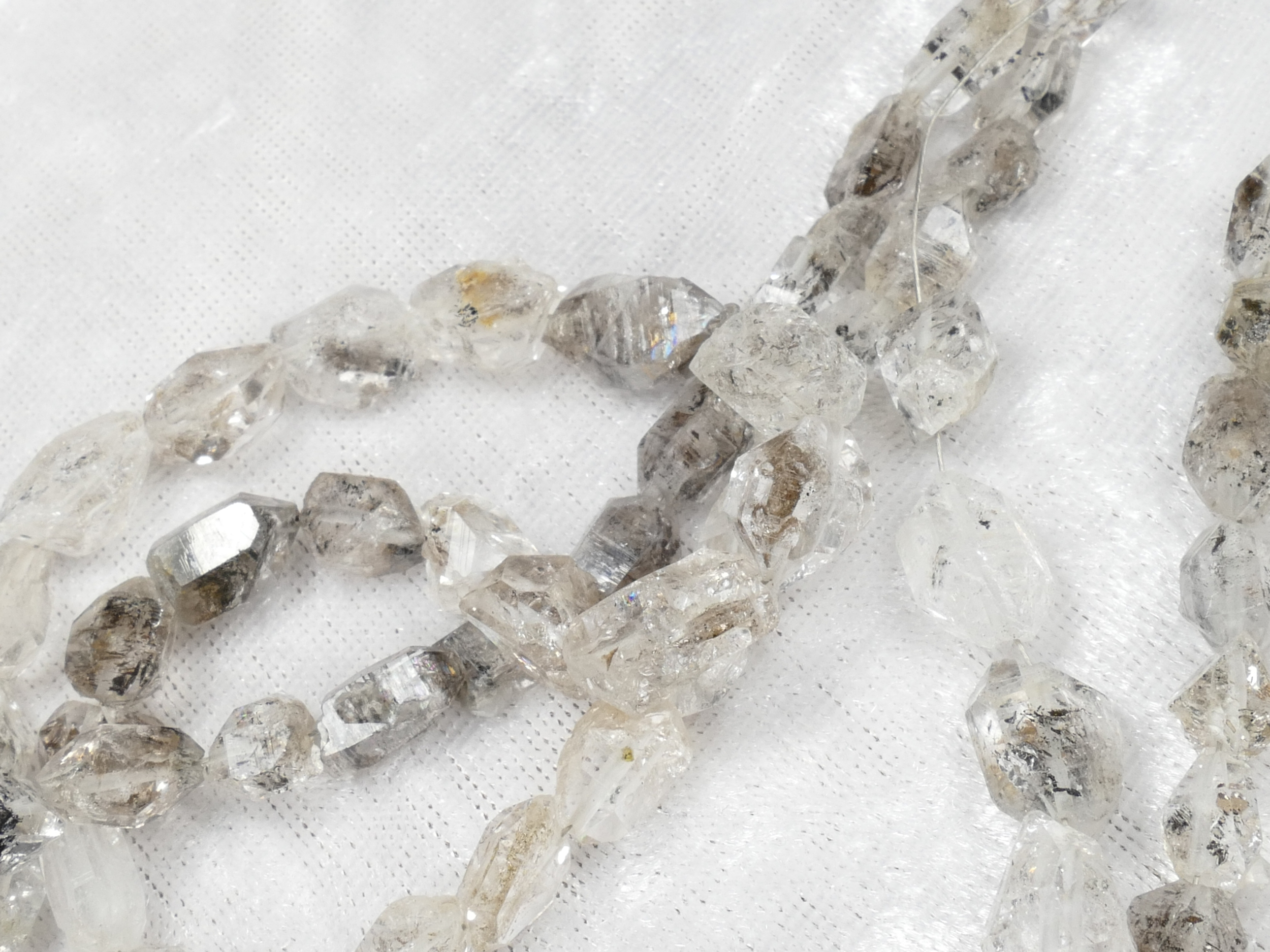 5/8mm Perles de Quartz diamant bi terminé cristal de roche percé en longueur brut x10cm (3.9inch) (#AC1007)