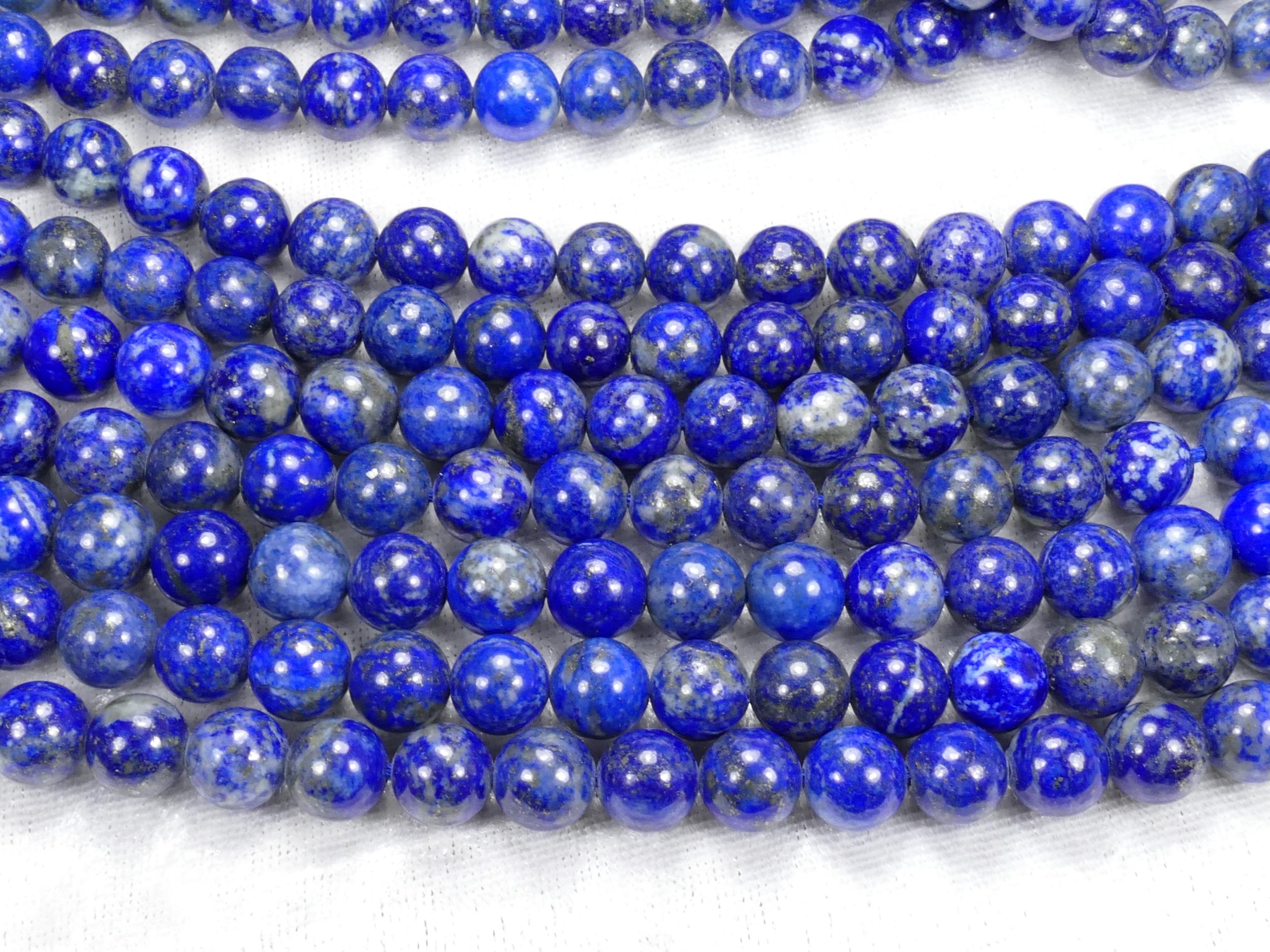 C/B 8.3/8.7mm x22 Perles Lapis lazuli entièrement naturel en boule ronde lisse d\'Afghanistan (#AC1042)