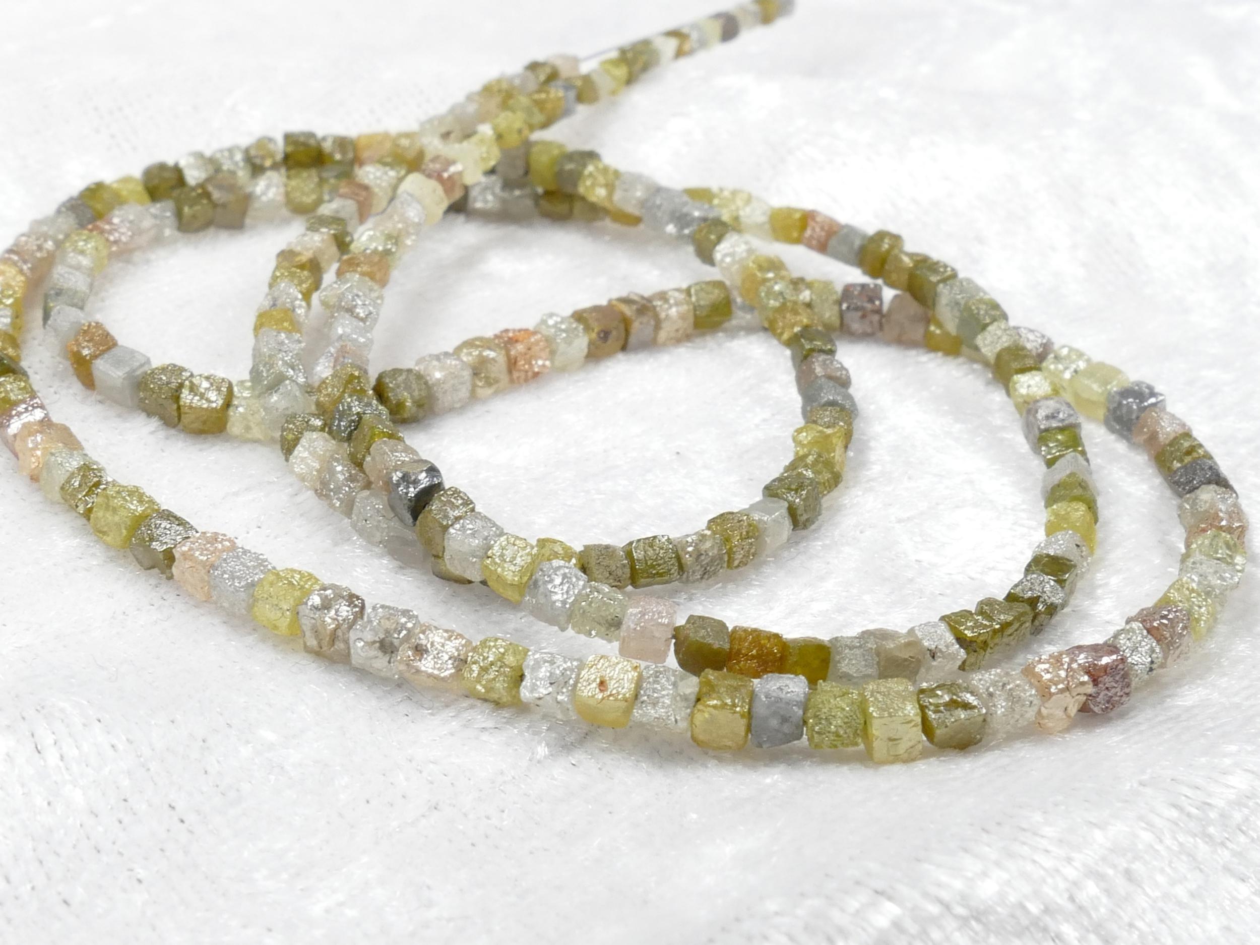 1.8/2.4mm x8 Perles de Diamant naturel brut forme cubique cube percée mélange gris jaune verdâtre trou 0.3mm (#AC1034)
