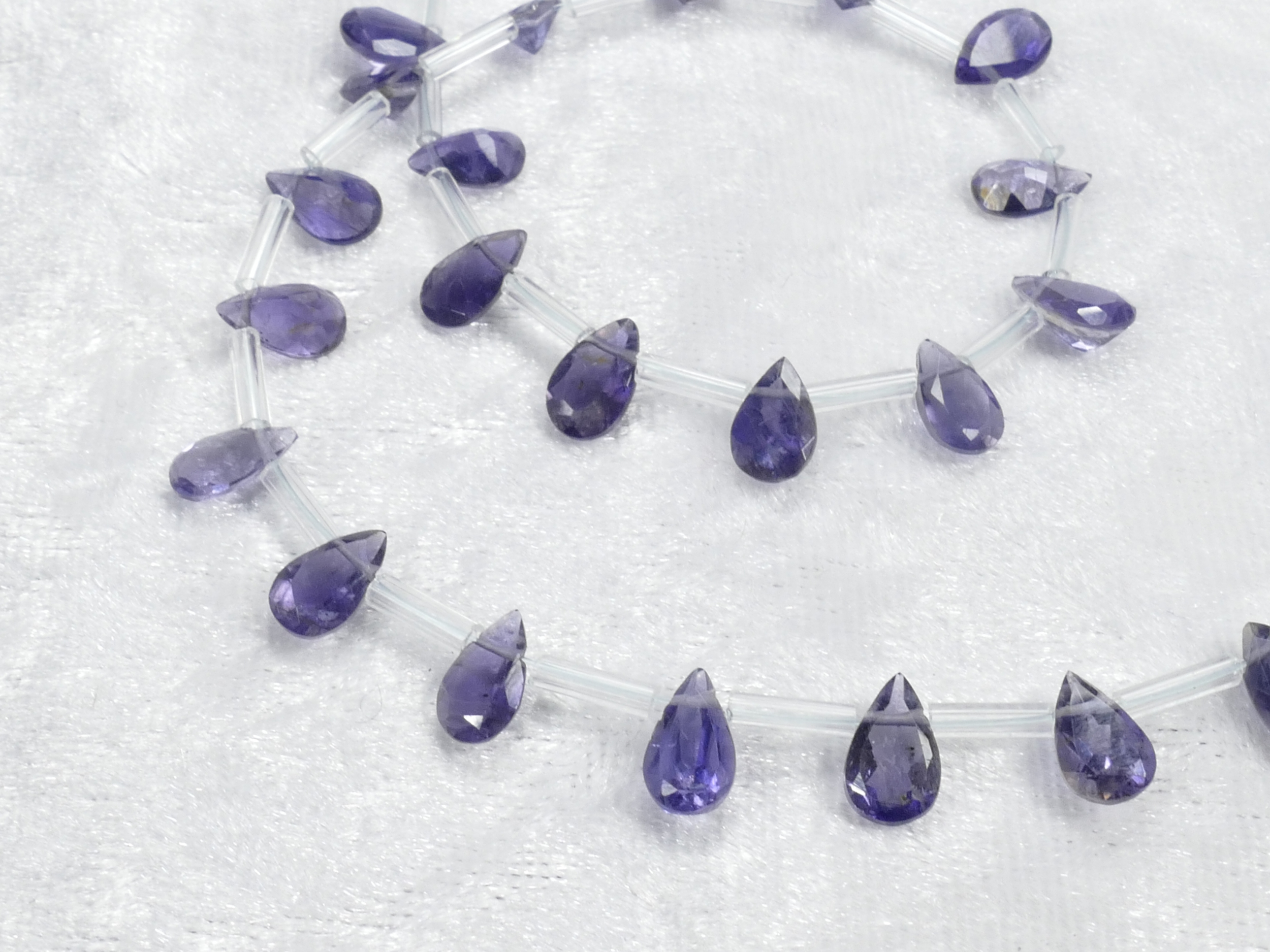A/AAA 7x5mm x8pc Très jolies perles d\'Iolite naturelle en poire facettée d\'Inde, Cordiérite (#AC1075)