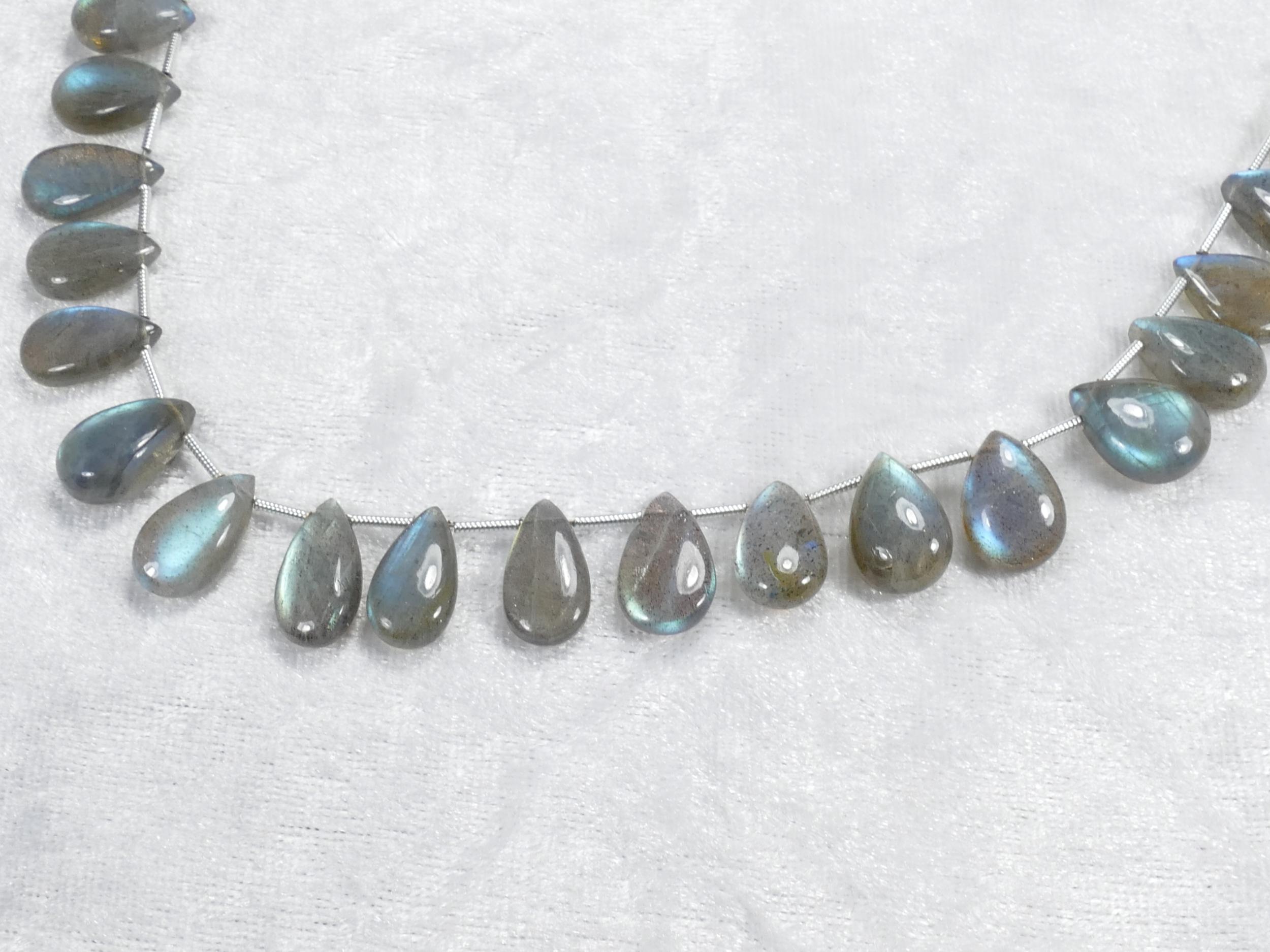 12x8/14x9mm x2 Perles de Labradorite naturelle en goutte lisse de Madagascar (#AC1076)