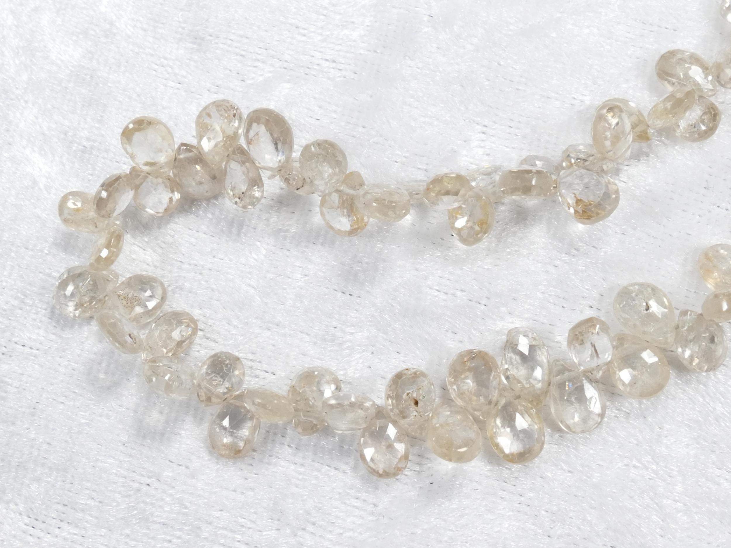 6x4/7x5mm x8 Perles de Zircon naturel champagne léger en goutte plate facettée d\'Afrique (#AC1052)