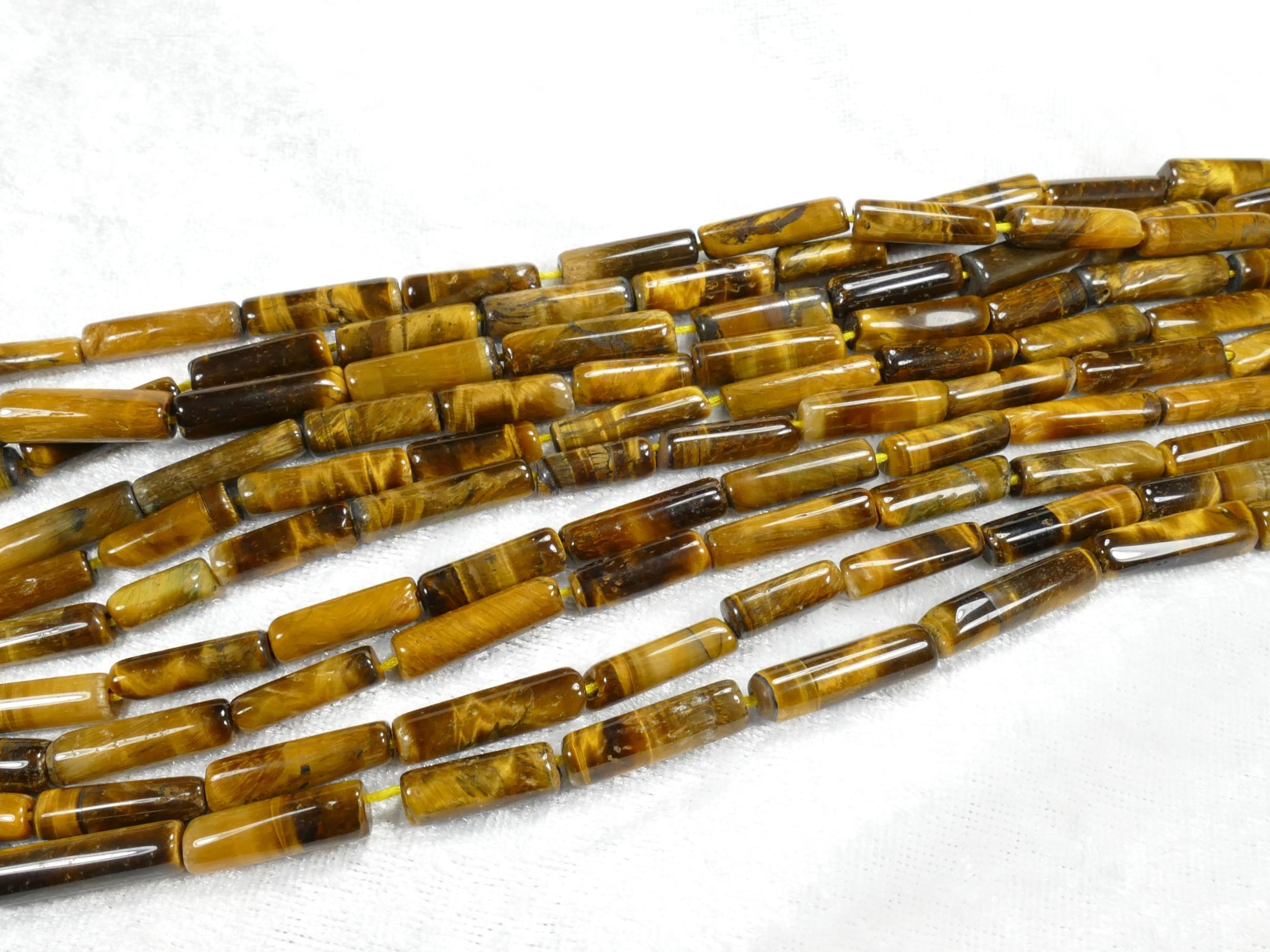 4/5mm Perle d\'Oeil-de-Tigre naturel tube lisse d\'Inde fil x32cm (12.6inch) (#AC1066)