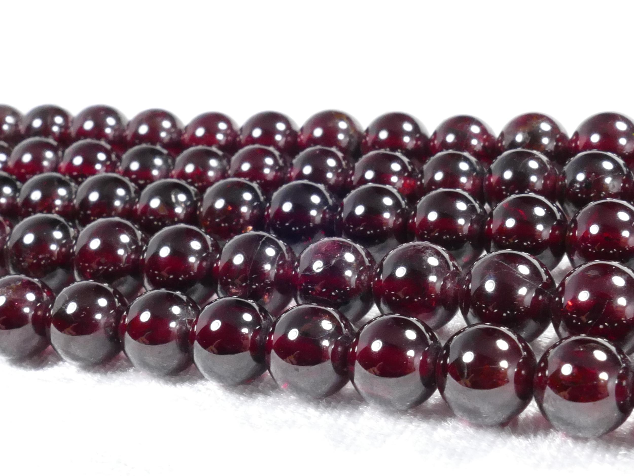 6.8/7.8mm x18 Perles de Grenat rouge intense naturel en boule / ronde lisse (#AC1043)