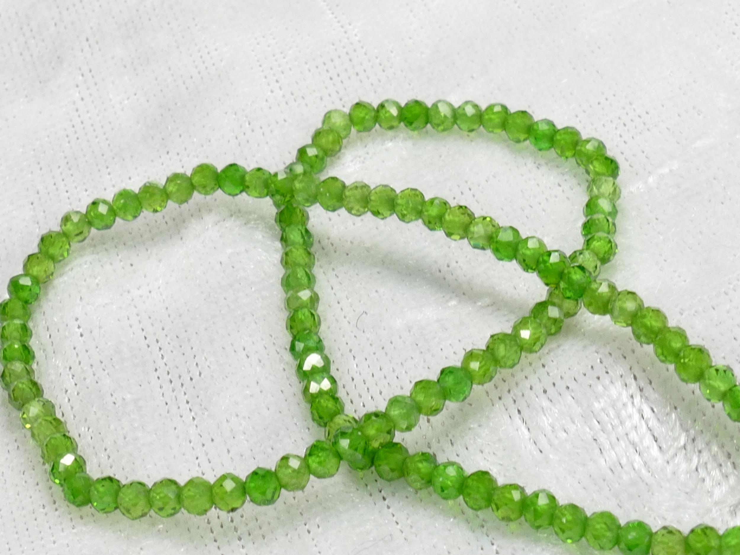 AA/AAA 2.5mm Petites perles de Diopside chromifère naturel en micro rondelle facettée x5cm (2 inch) (#AC1070)