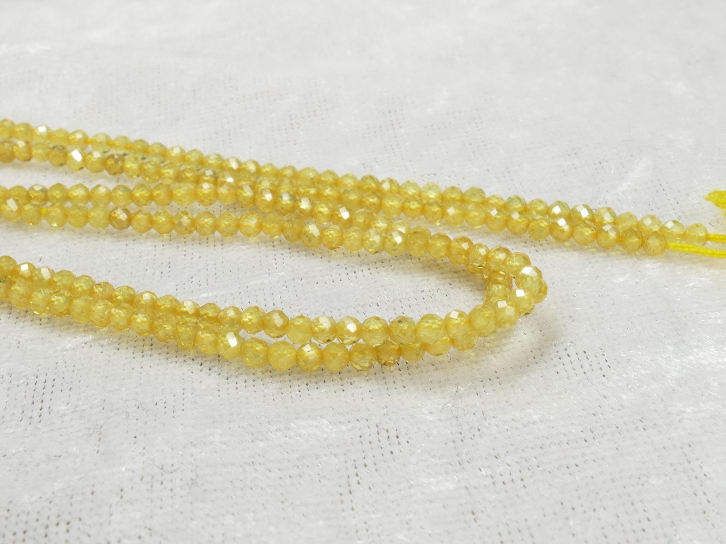 A/AA 2.4mm Petites perles de Saphir jaune entièrement naturel en micro rondelle facettée x5cm (2 inch) (#AC1078)