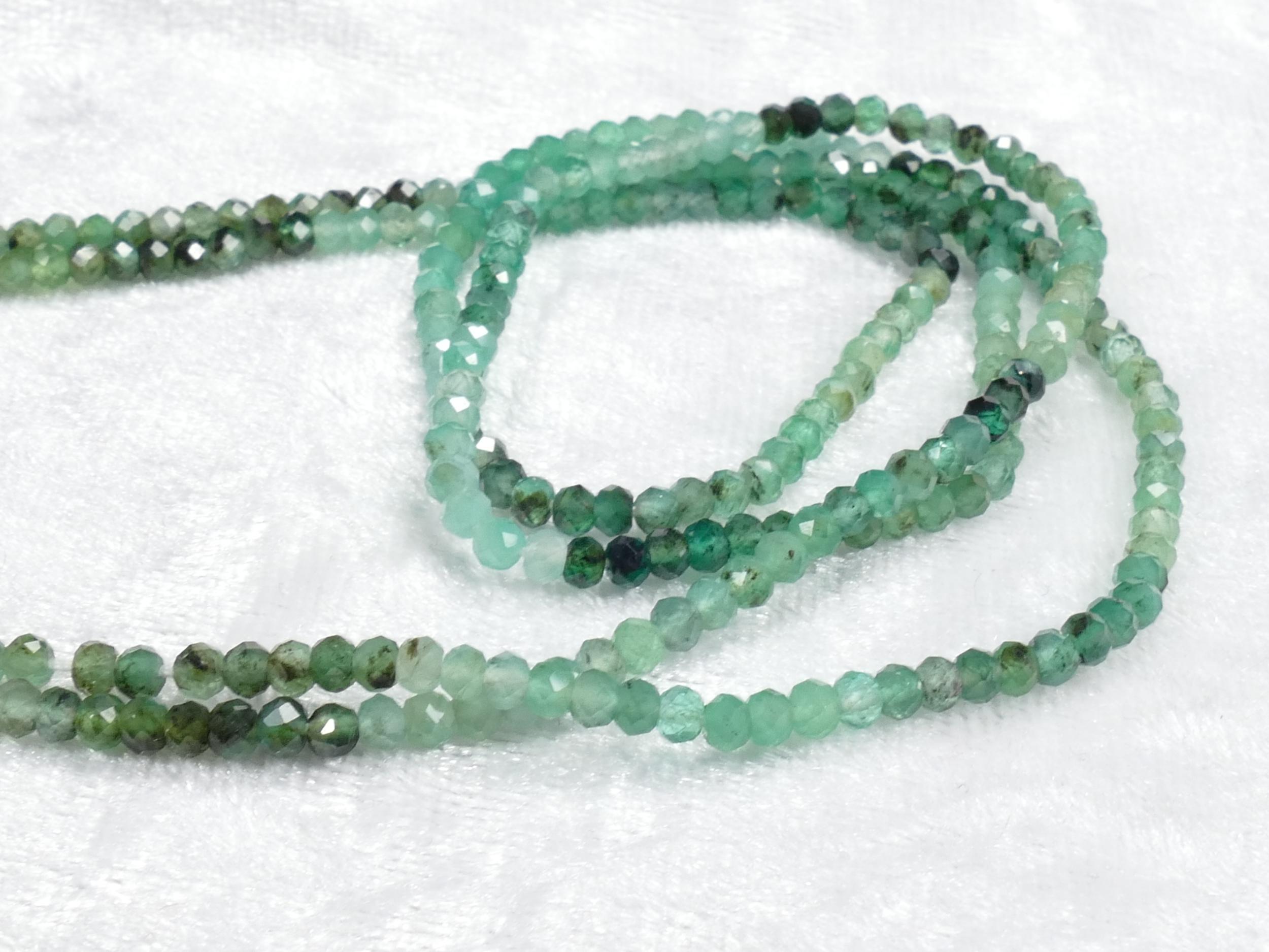 Couleur De L Emeraude 3mm perle d'emeraude naturel en rondelle facettée couleur dégradée x15cm  (5.9inch) (#ac1067)