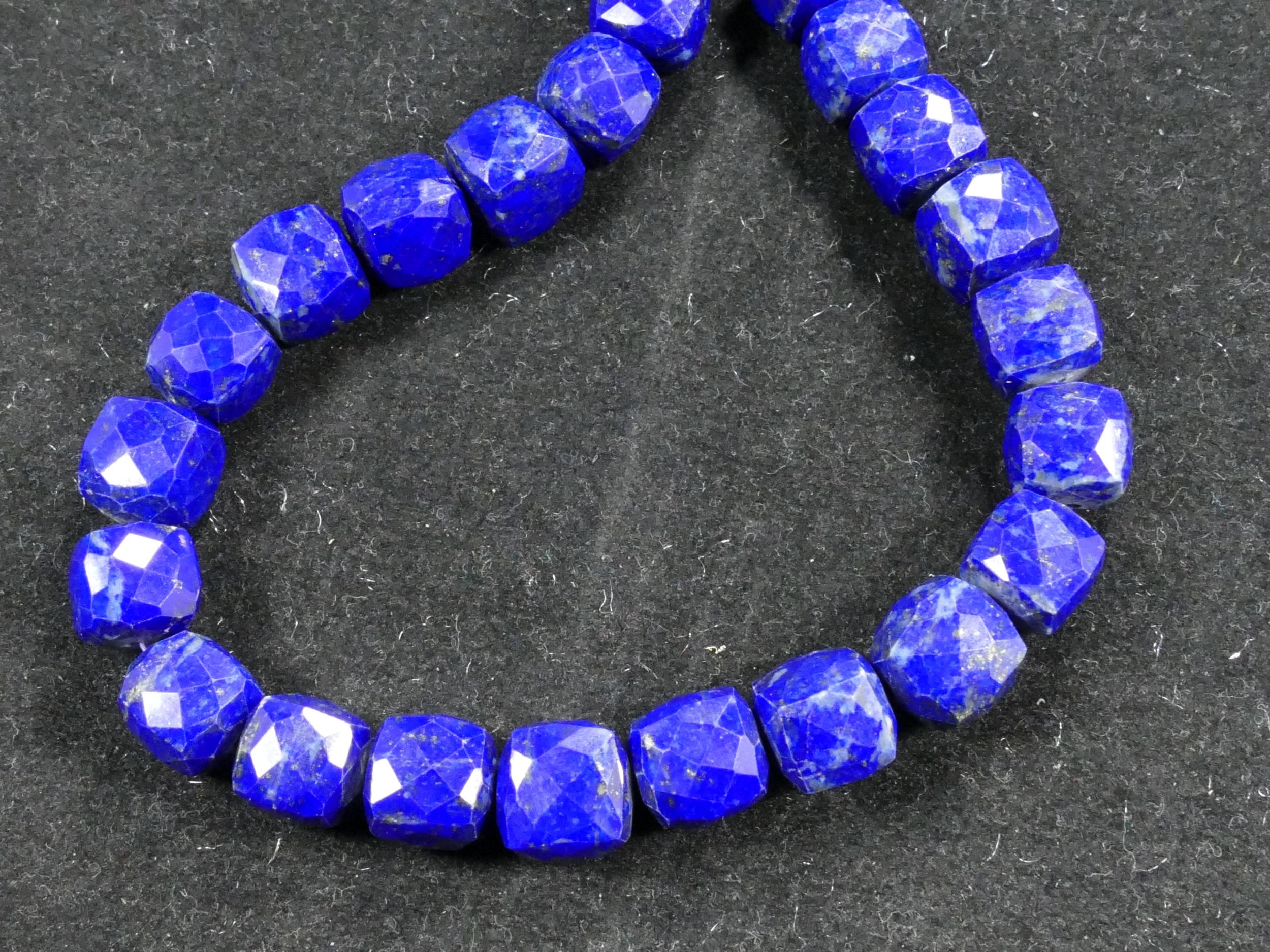 8.5/9.5mm x2 Perles de Lapis lazuli entièrement naturel en cube facettée (#AC830)