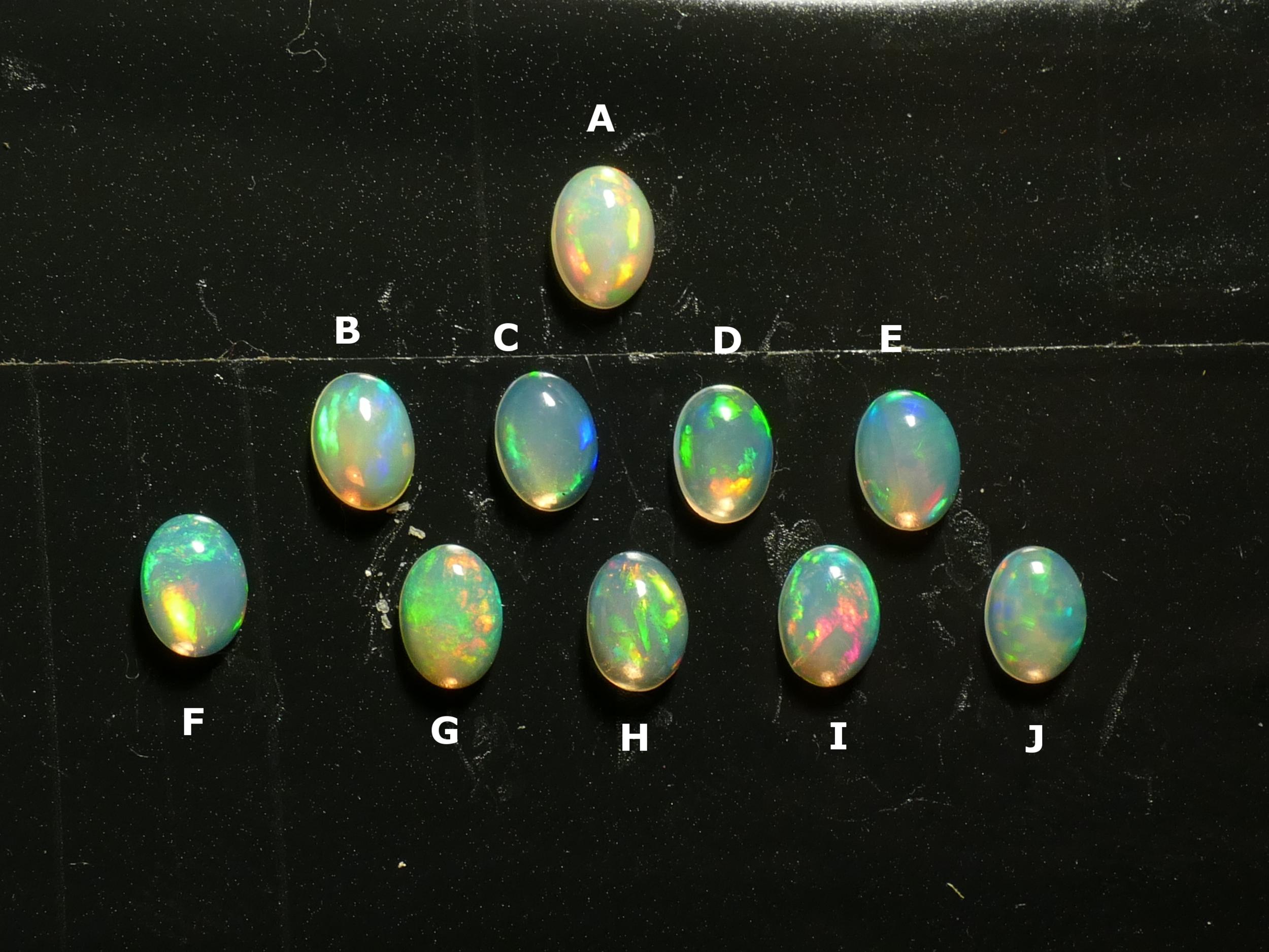 7x5mm Très jolie Opale naturelle d\'Ethiopie cabochon ovale, vente à l\'unité (#PM345)