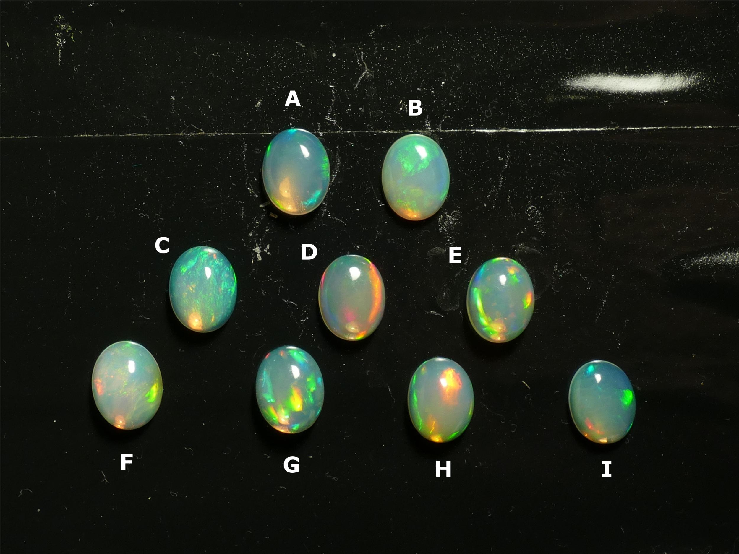9x7mm Très jolie Opale naturelle d\'Ethiopie cabochon ovale, vente à l\'unité (#PM348)