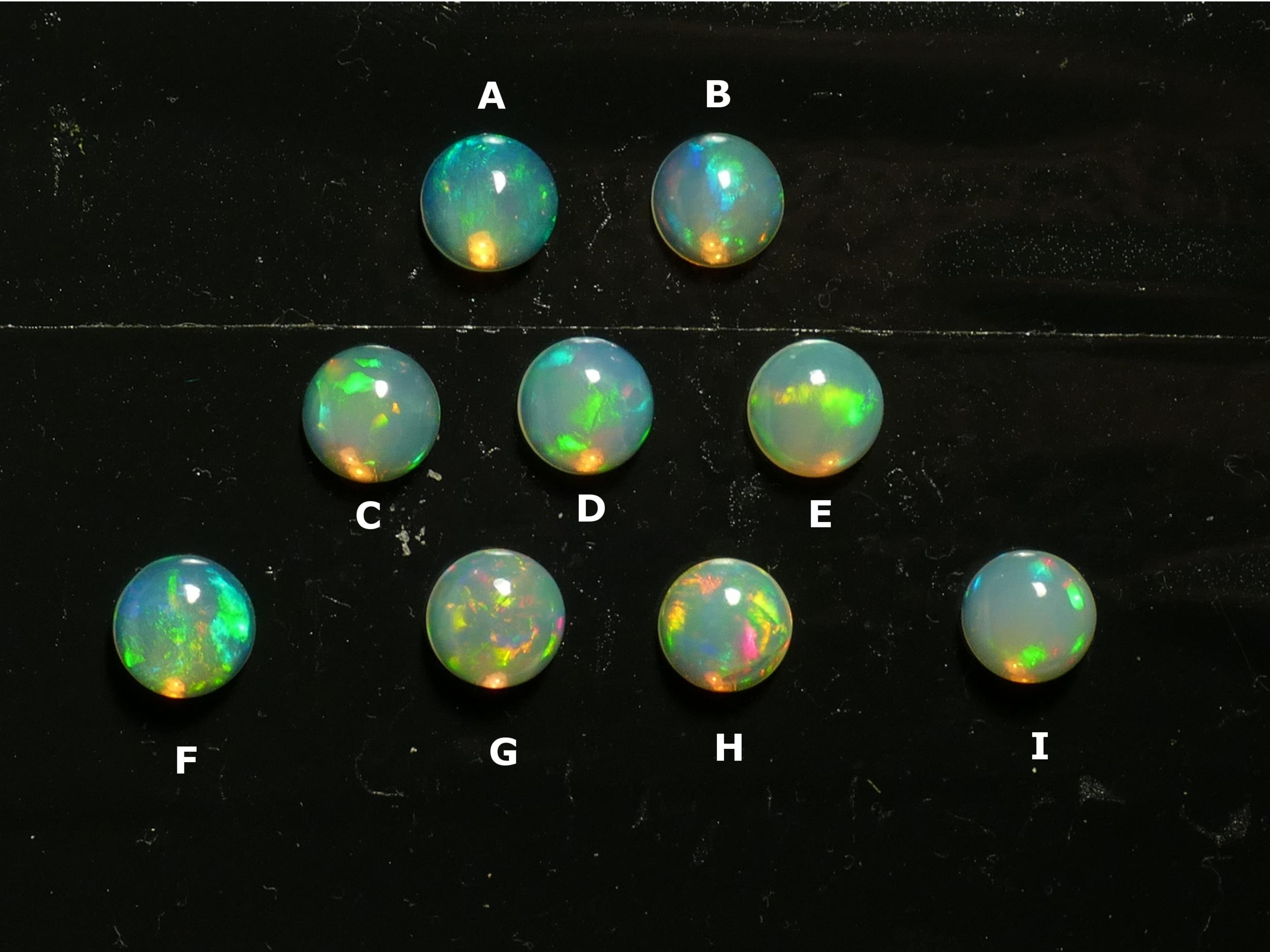 8mm Très jolie Opale naturelle d\'Ethiopie cabochon rond, vente à l\'unité (#PM352)