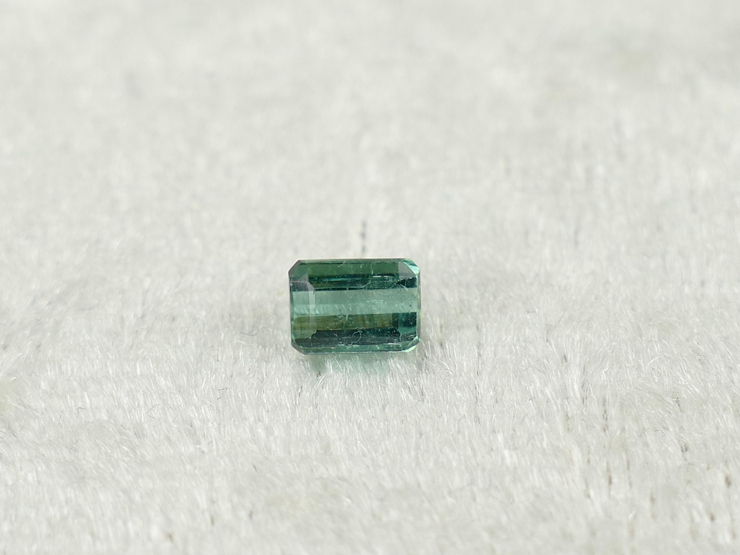 5.2x3.8mm Superbe Tourmaline naturelle bleu vert 0.61ct Afghanistan taille octogonale (#PK514)