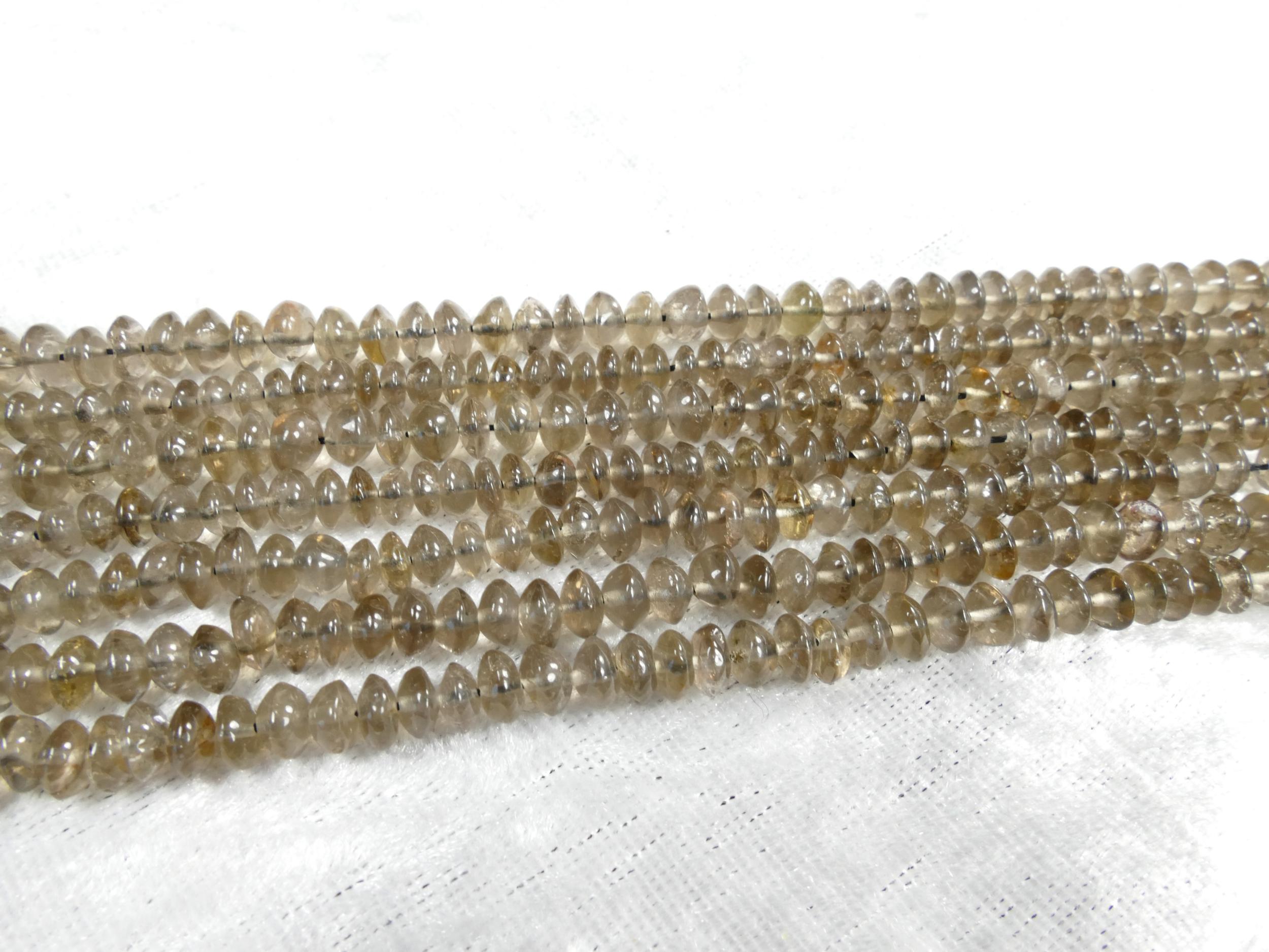 4.2/5mm AA/AAA+ Perles de Quartz fumé naturel clair rondelle lisse irrégulière fil x35cm (13.7inch) (#AC1104)