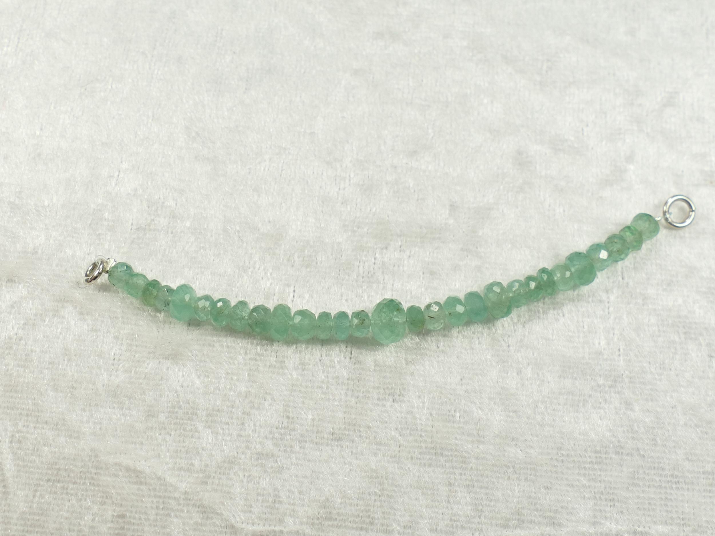 3,8-6,6mm 29 perles d\'Emeraude naturel rondelle facettée long 84mm Colombie (#PF10)