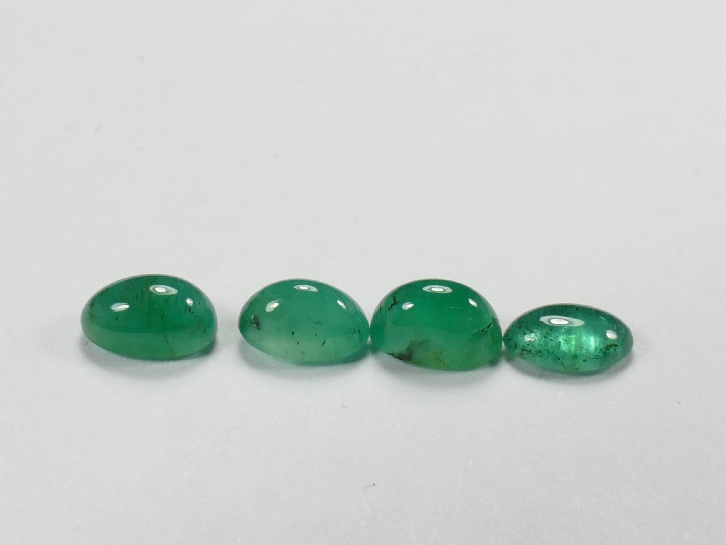4 Emeraude naturelle cabochon ovale 1.11ct Zambie Béryl vert (#PM31)