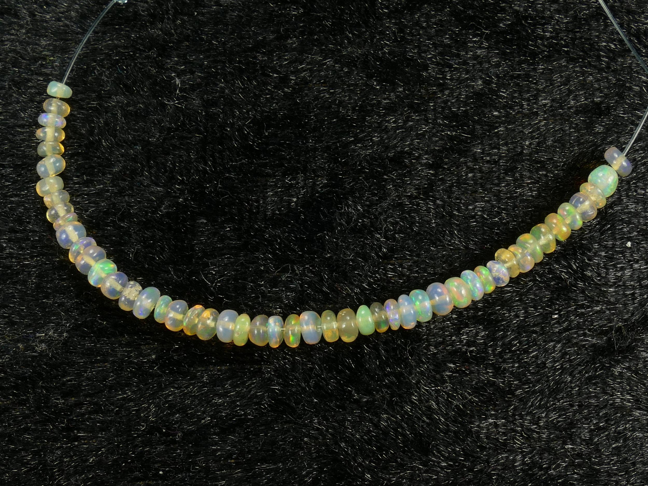 2.5/3.2mm Perle d\'opale noble naturelle d\'Ethiopie rondelle lisse 7.5cm (2.95in) (#PK730)