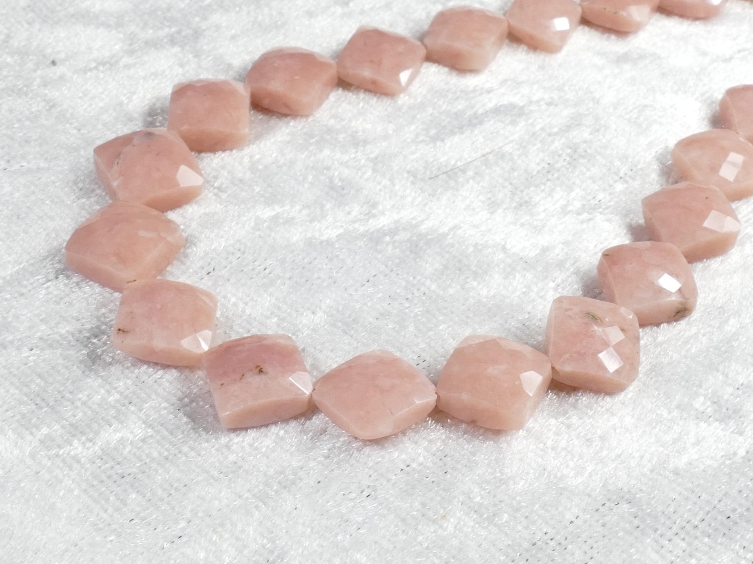 9.5/11mm x4 Perles d\'Opale rose naturelle du Pérou en coussin facettée percé losange (#AC1108)