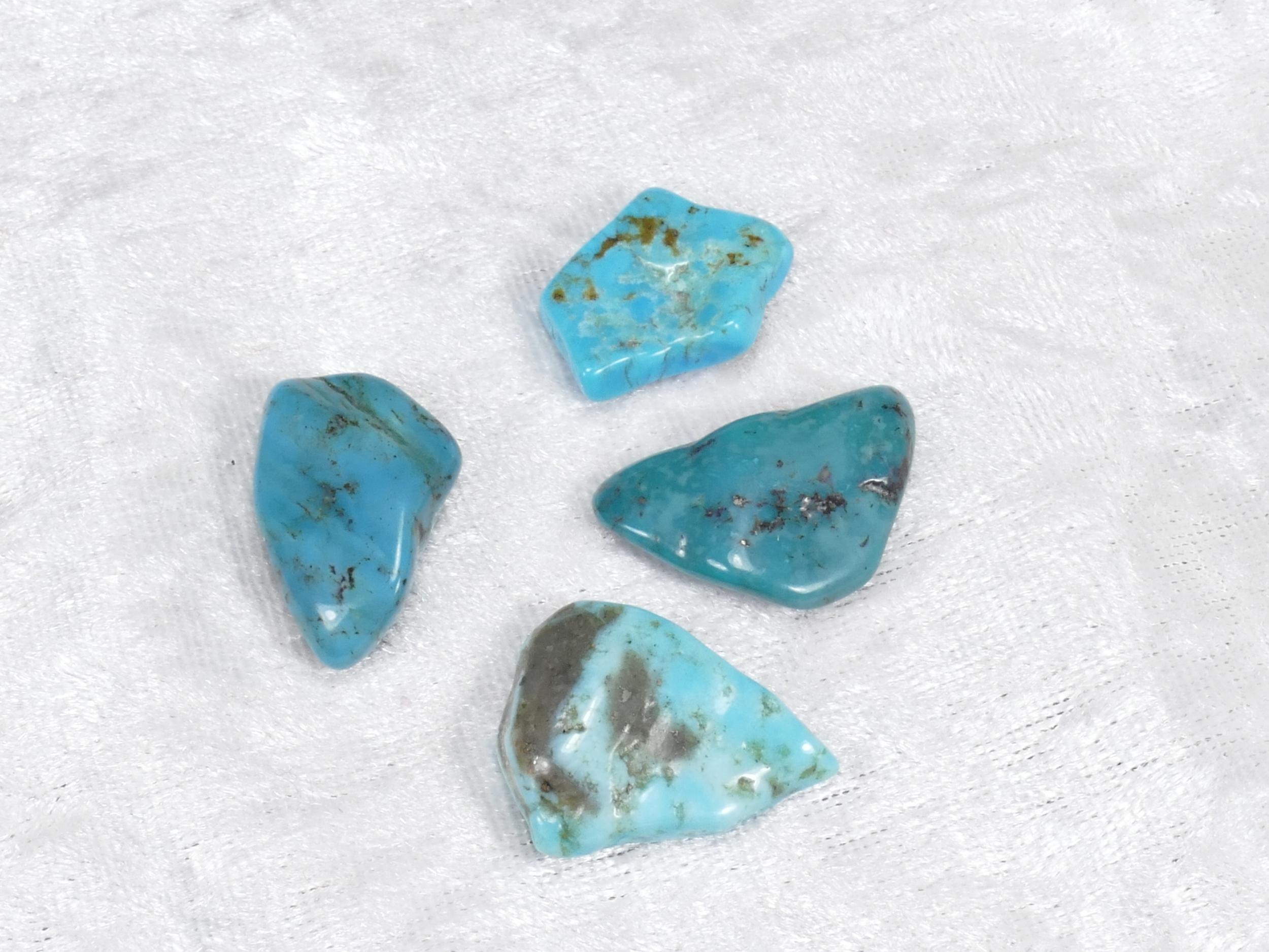 20-24mm 4 Turquoise naturelle en morceau roulé avec matrice 10.41g (#PM356)