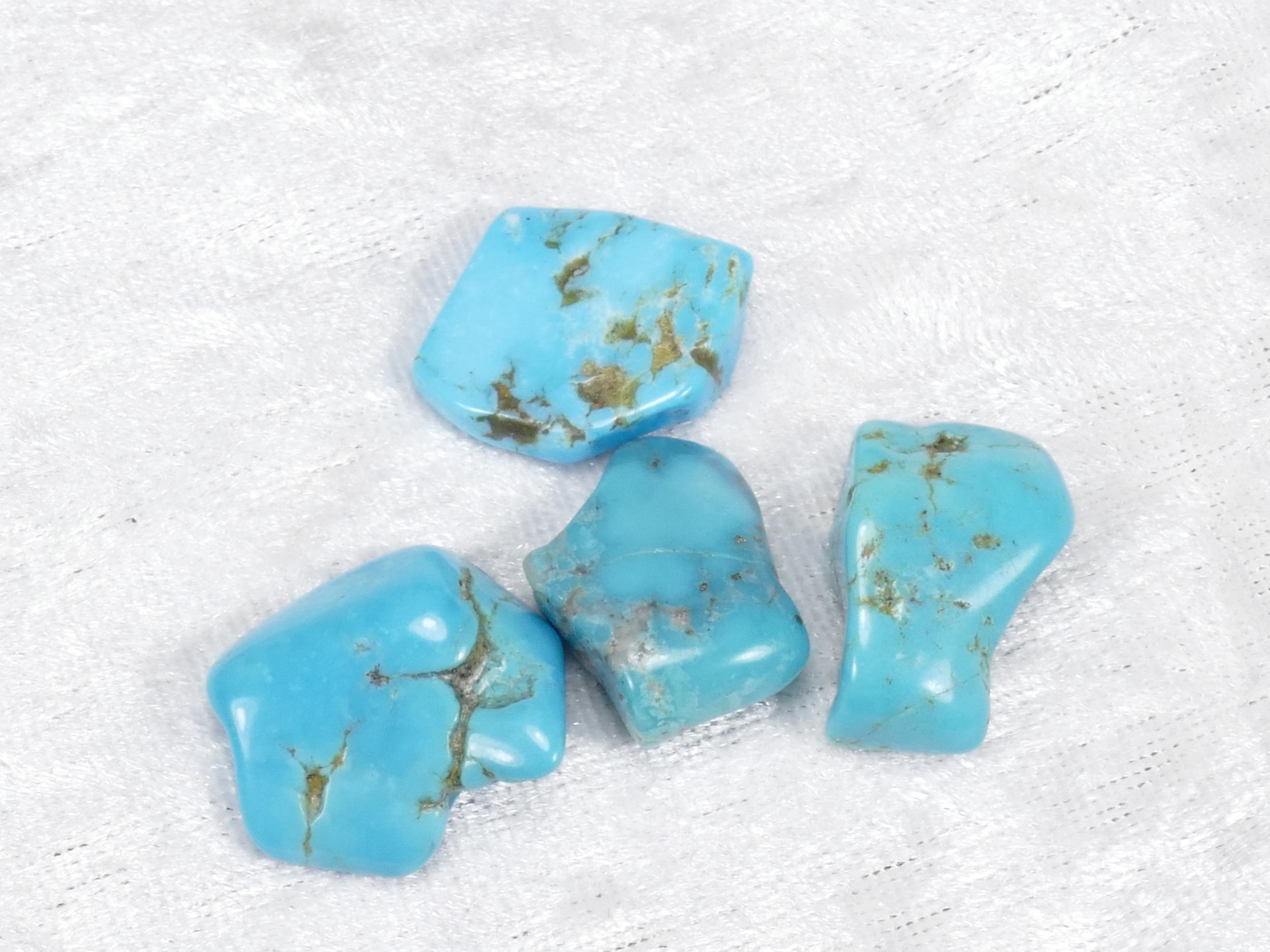 20-22mm 4 Turquoise naturelle en morceau roulé avec matrice 11.51g (#PM362)