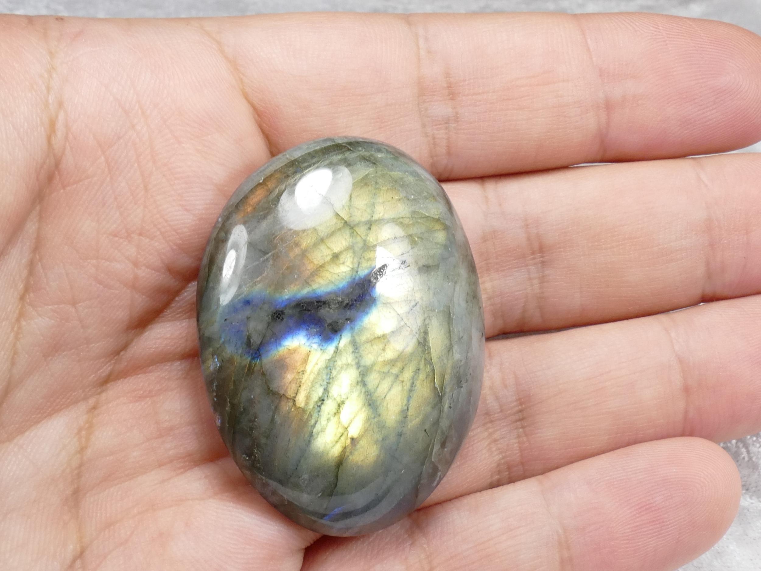 47.5mm Labradorite entièrement naturelle galet roulé poli multicolore (#PM282)