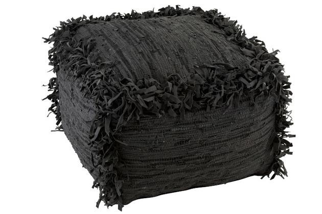 Pouf Crochete Carre Cuir XL