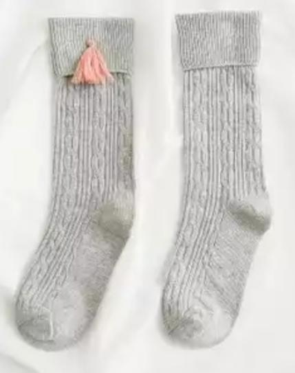 Chaussettes hautes pompons