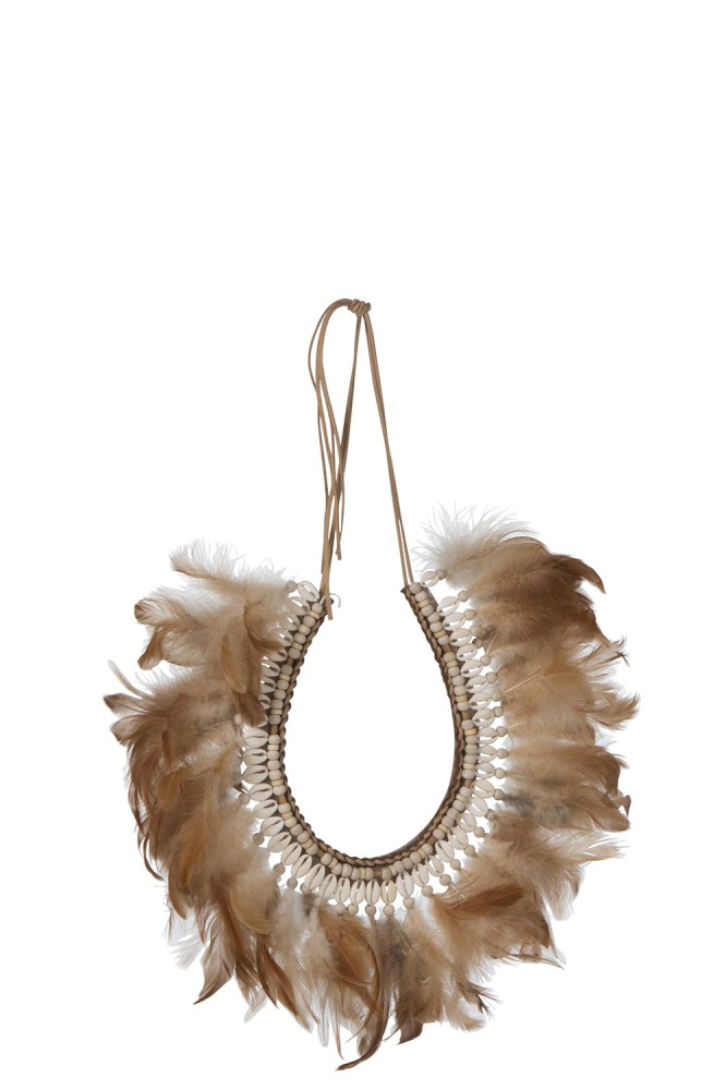 Décoration murale collier Plumes/Coquillages Boho XL