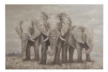 Tableau 3 Elephants Texture Canevas