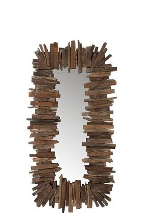 Miroir Rectangulaire Morceaux Bois Recycle LARGE