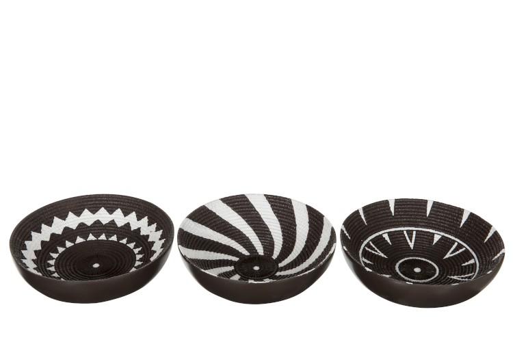 Assortiments de 3 bols Ronds Motifs Noir/Blanc