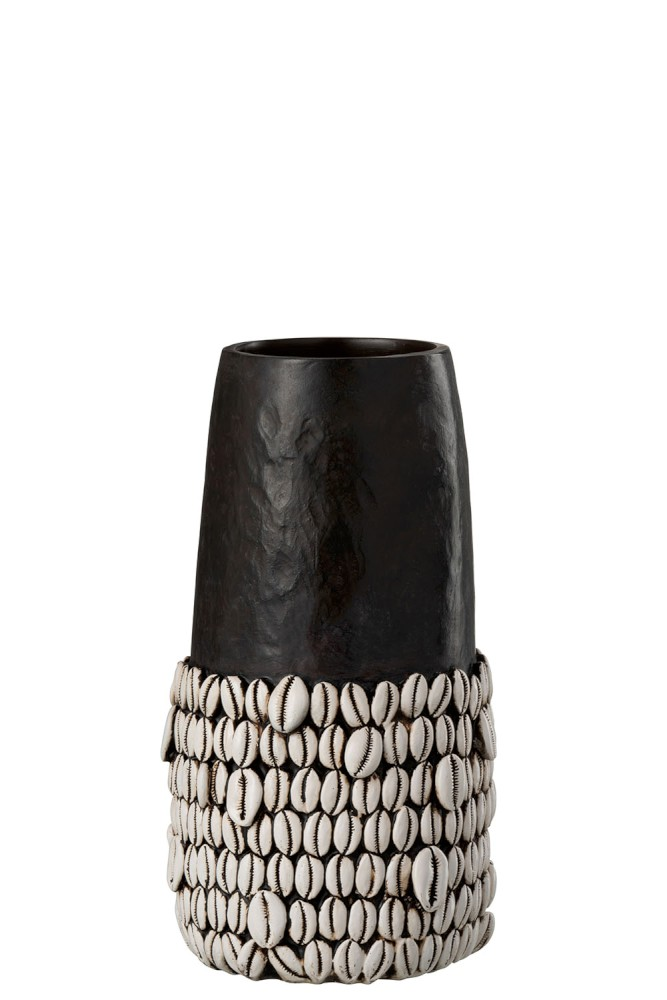 Vase Coquillages Resine Noir/Blanc Small