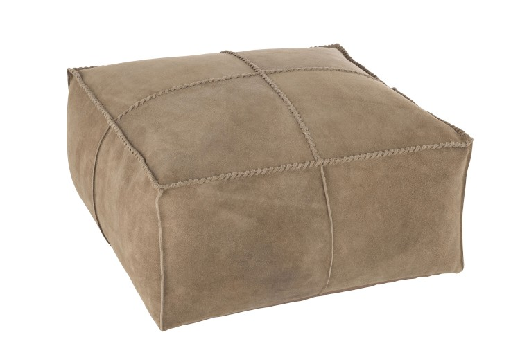 Pouf Point Carre en cuir XL
