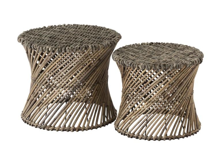 Tabouret/Vase en rotin et bambou LARGE