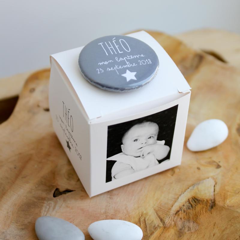 Boîte à dragées blanche avec photo Arthur (Cadeau invité : baptême-communion-anniversaire-mariage...)