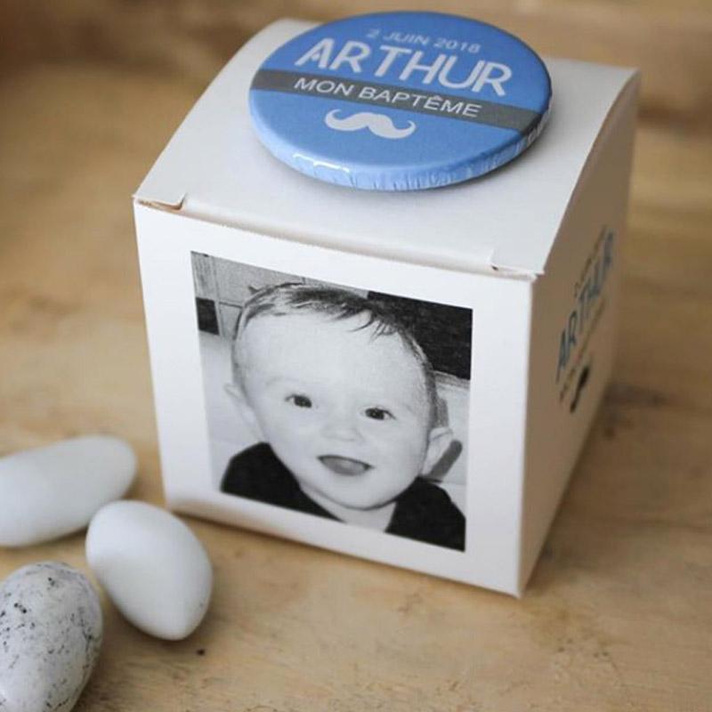 Boîte Moustache bleue (Cadeau invité : baptême-communion-anniversaire-mariage...)