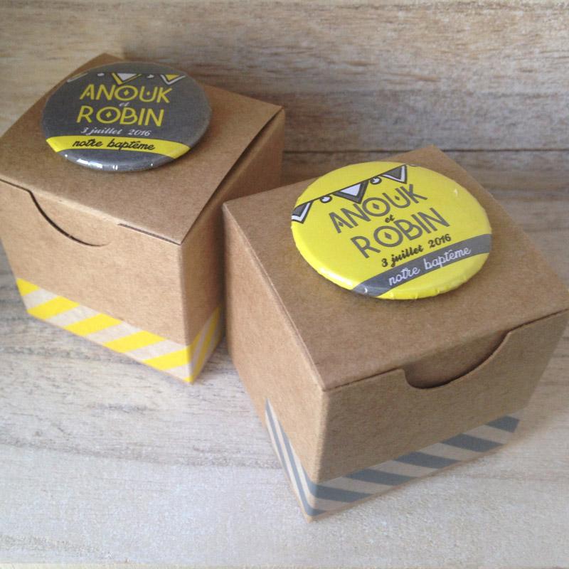 Boîtes Kraft DUO Rayures Jaunes et grises (Cadeau invité : baptême-communion-anniversaire-mariage...)