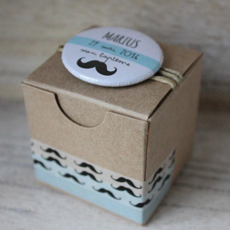 Boîte Kraft Moustache (Cadeau invité : baptême-communion-anniversaire-mariage...)