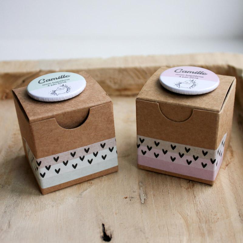 Boîtes Kraft DUO Licorne (Cadeau invité : baptême-communion-anniversaire-mariage...)