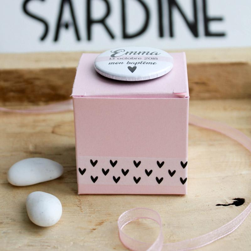 Boîte à dragées rose  Pink Heart (Cadeau invite : baptême-communion-anniversaire-mariage...)